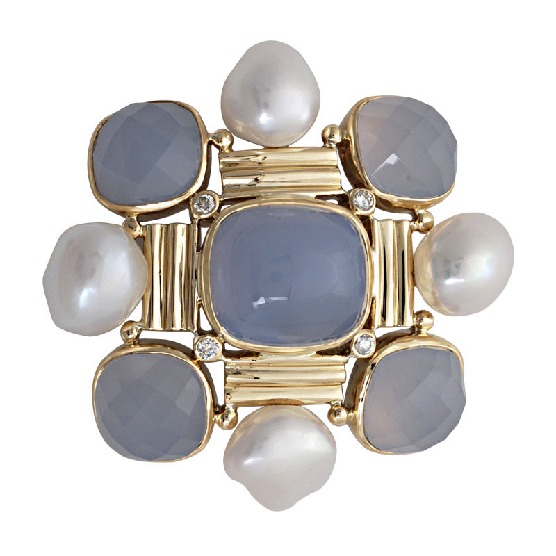 Brooch-Chalcedony, Pearl and Diamond
