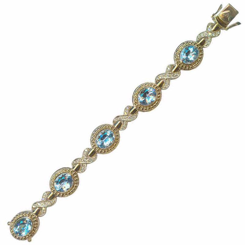 Bracelet-Blue Topaz and Diamond