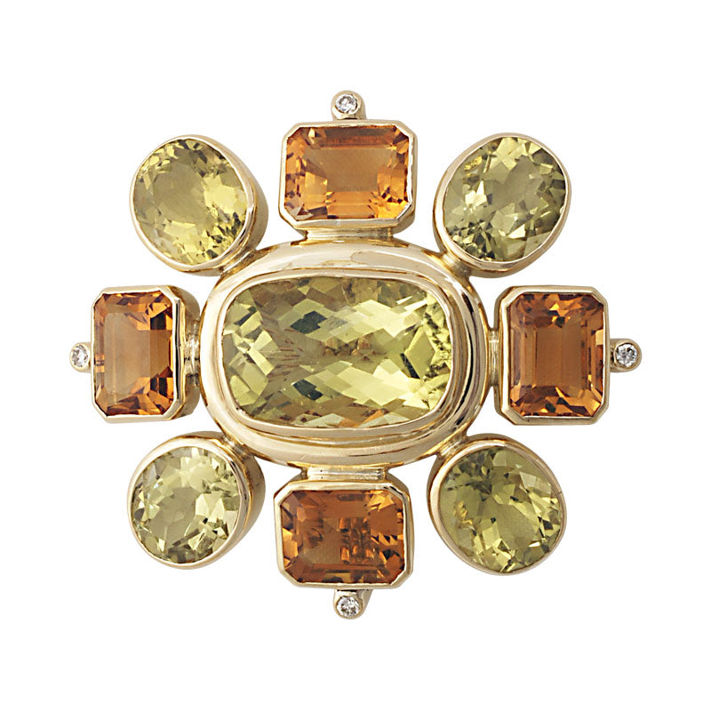 Brooch-Lemon Quartz, Citrine and Diamond