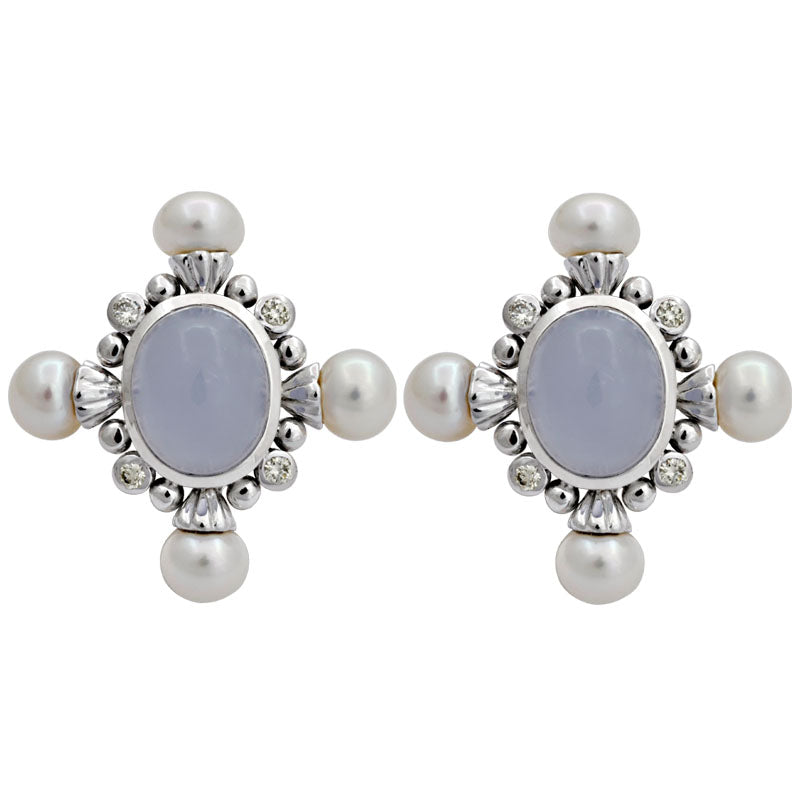 Earrings-Chalcedony, Fresh Water Pearl and Diamond
