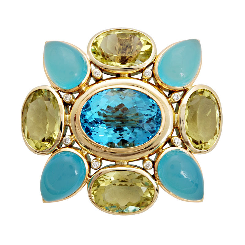 Brooch-Blue Topaz, Chalcedony, Lemon Quartz and Diamond