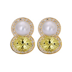 Earrings- Lemon Quartz, South Sea Pearl and Diamond