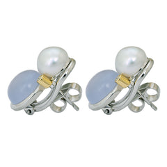 Earrings- Chalcedony, South Sea Pearl and Diamond