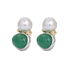 Earrings- Aventurine, South Sea Pearl and Diamond