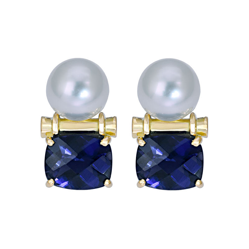 Earrings- Iolite and South Sea Pearl