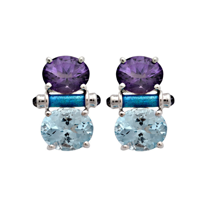 Earrings-Amethyst, Blue Topaz and Iolite (Enamel)