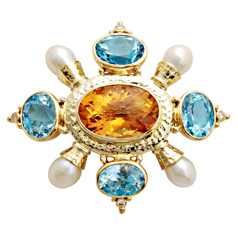 Brooch-Citrine, Blue Topaz, Pearl and Diamond