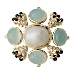 Brooch-Chalcedony, Pearl, Sapphire and Diamond