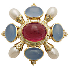 Brooch-Chalcedony, Pearl, Rubellite and Diamond