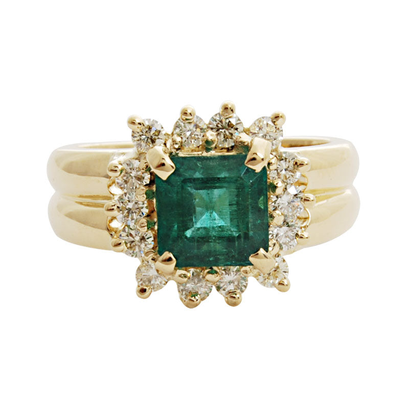 Ring-Emerald and Diamond