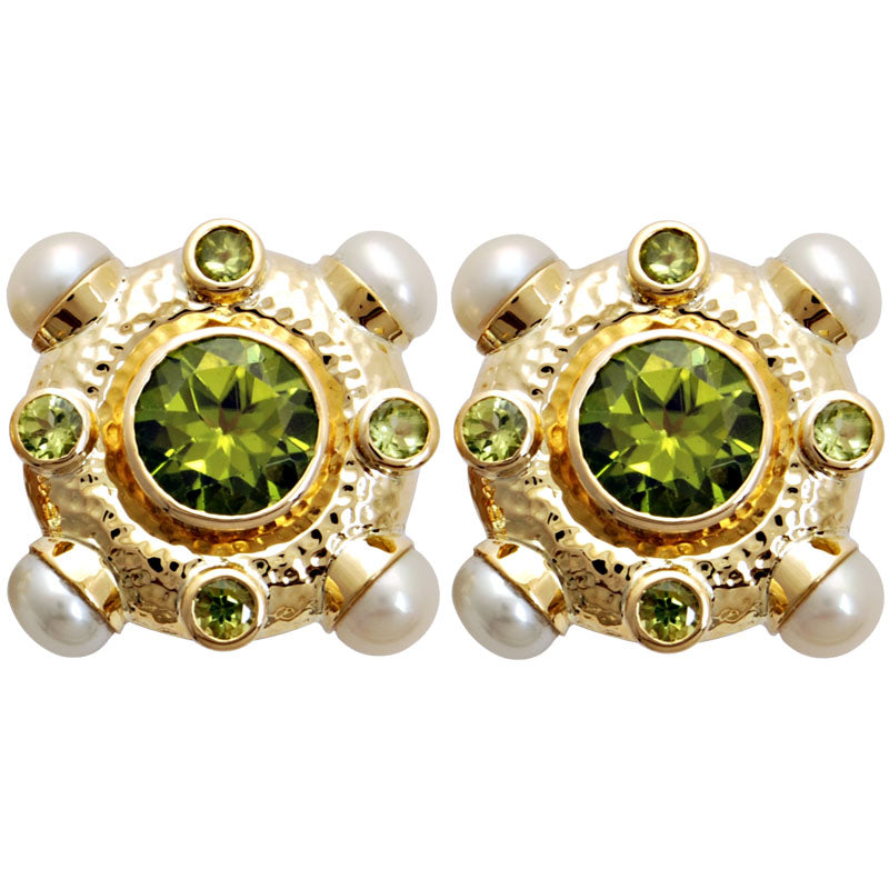 Earrings-Pearl and Peridot