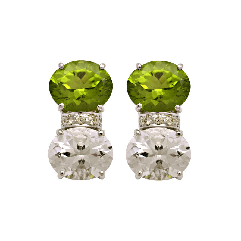 Earrings-Peridot, Crystal and Diamond