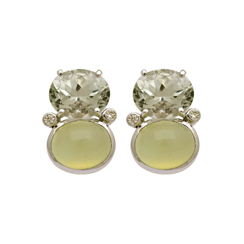 Earrings-Prehnite, Green Quartz and Diamond