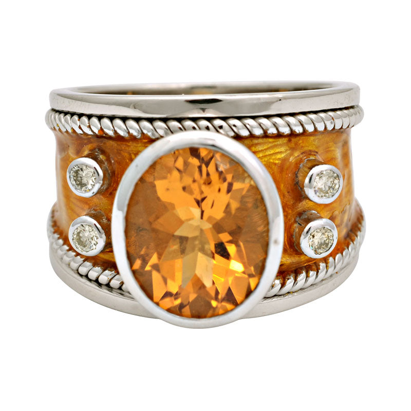 Ring-Citrine and Diamond (Enamel)