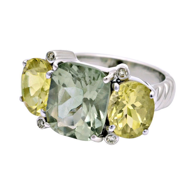Ring-Green Quartz, Lemon Quartz and Diamond