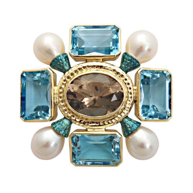 Brooch-Smokey Quartz, Blue Topaz and Pearl (Enamel)