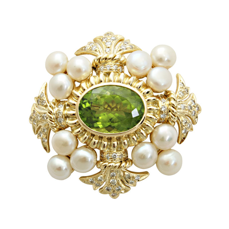 Brooch-Peridot, Pearl and Diamond