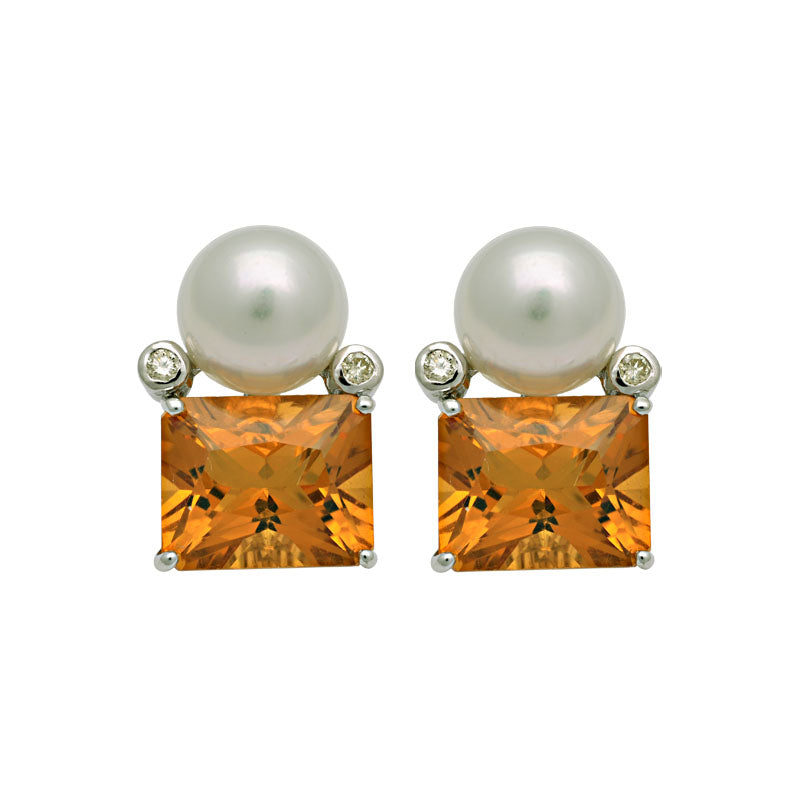 Earrings-Citrine, South Sea Pearl and Diamond