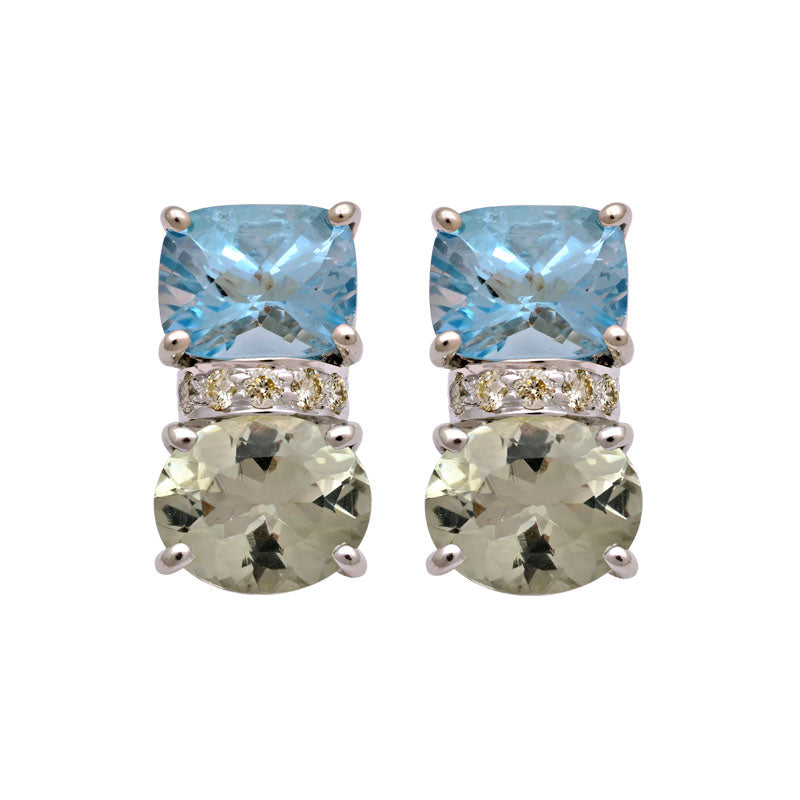 Earrings-Green Quartz, Blue Topaz and Diamond