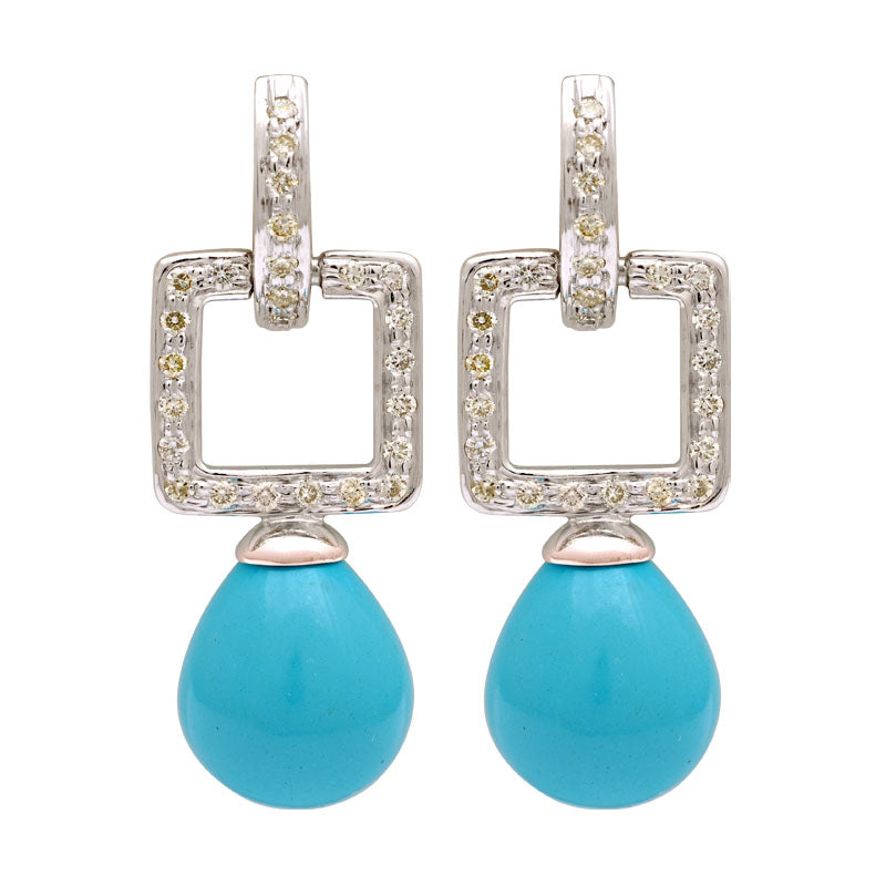 Earrings-Synthetic Turquoise and Diamond
