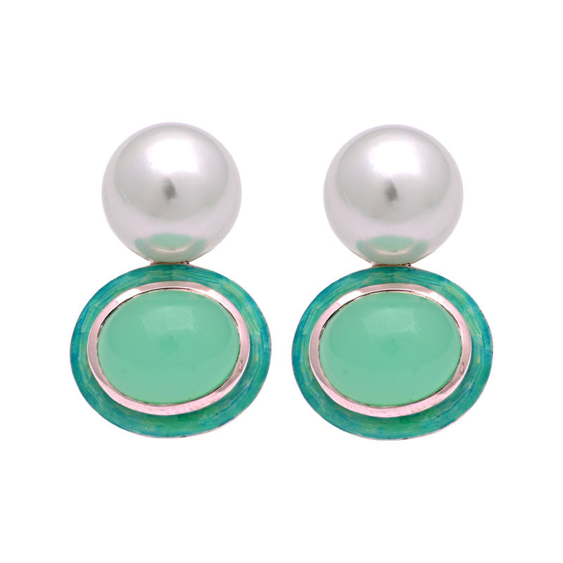 Earrings-Chrysoprase and South Sea Pearl (Enamel)