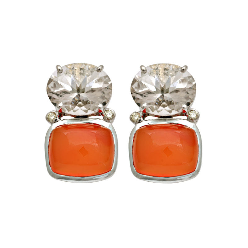 Earrings-Cornelian, Crystal and Diamond