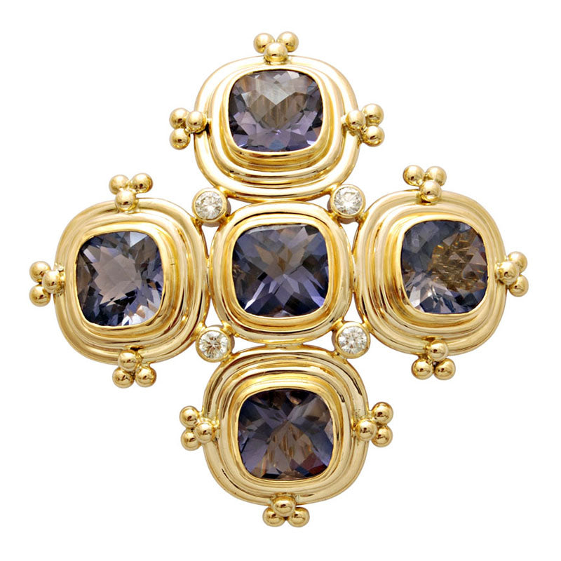 Brooch-Iolite and Diamond