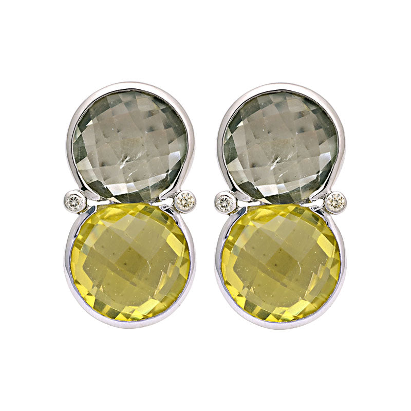 Earrings-Green Quartz, Lemon Quartz and Diamond