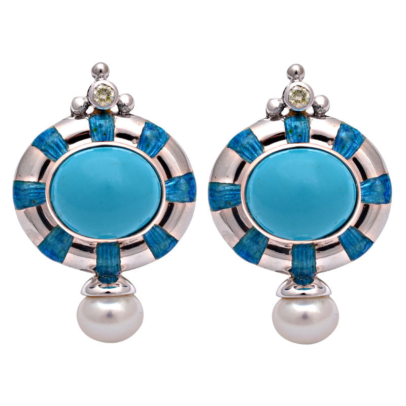 Earrings-Synthetic Turquoise, Fresh Water Pearl and Diamond (Enamel)