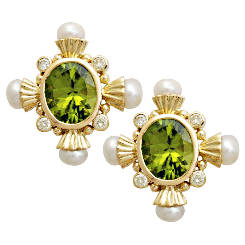 Earrings-Peridot , Pearl and Diamond