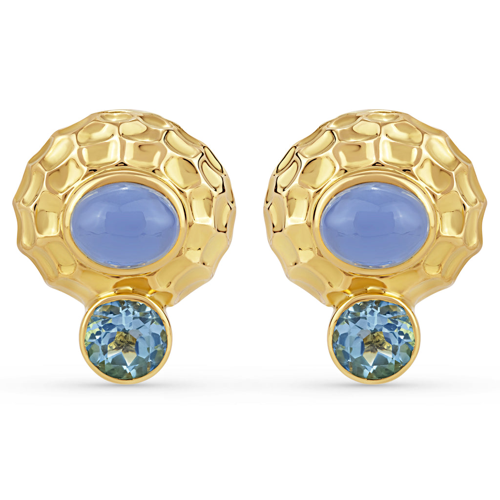Earrings - Blue Topaz and Chalcedony