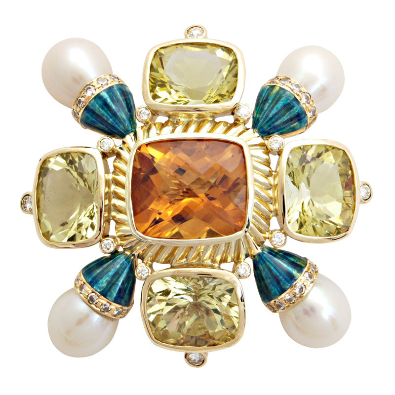 Brooch-Citrine, Lemon Quartz, Pearl and Diamond (Enamel)