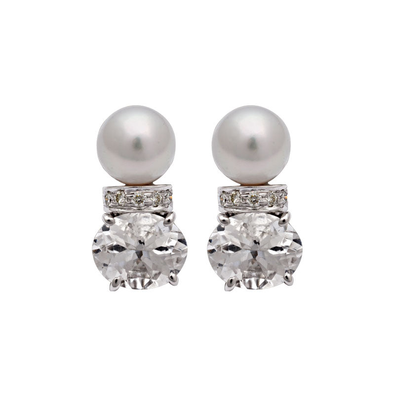 Earrings-Crystal, South Sea Pearl and Diamond