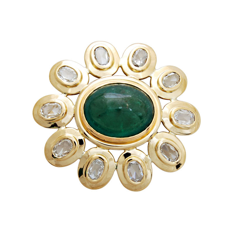 Brooch-Emerald and Diamond