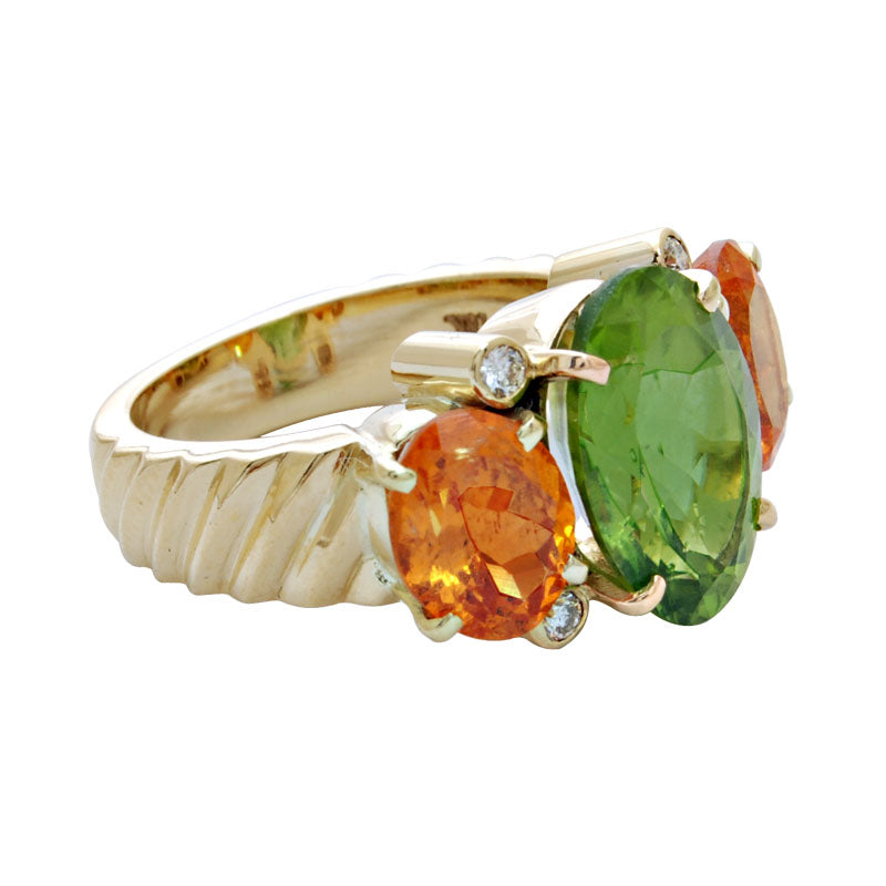Ring-Peridot, Orange Garnet and Diamond