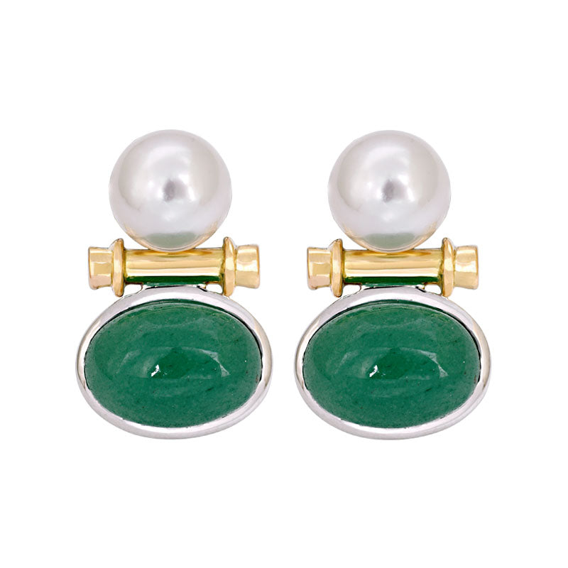 Earrings- Aventurine and South Sea Pearl
