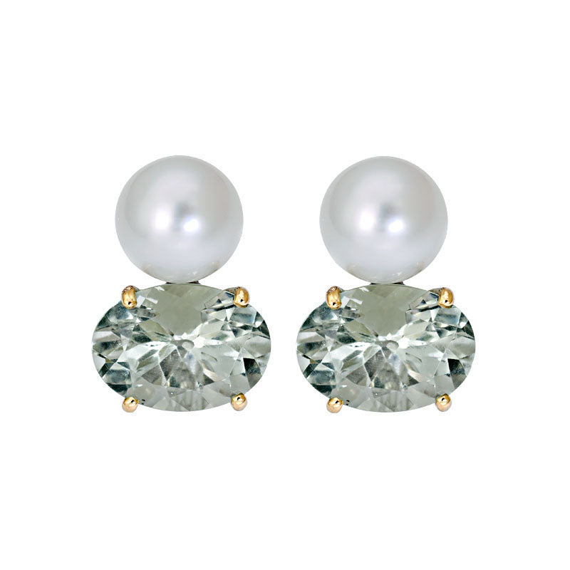 Earrings- Green Quartz and South Sea Pearl