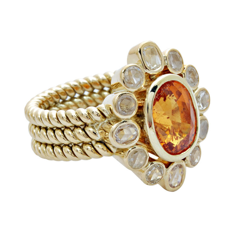 Ring-Orange Garnet and Diamond