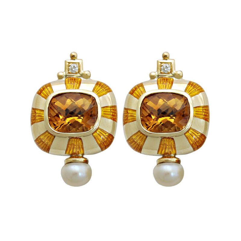 Earrings-Citrine, Pearl and Diamond (Enamel)