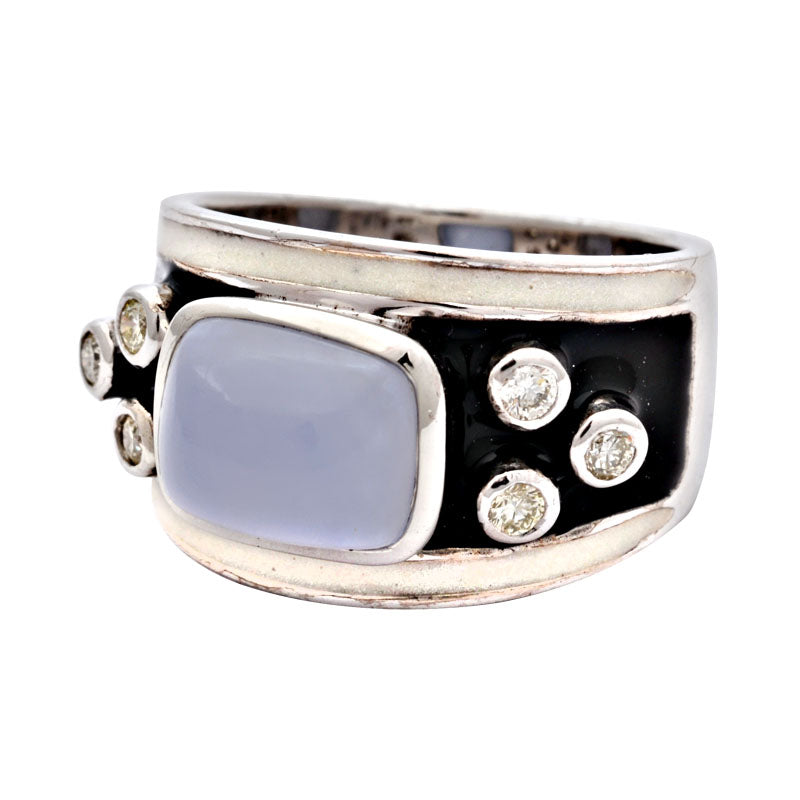 Ring-Chalcedony and Diamond (Enamel)
