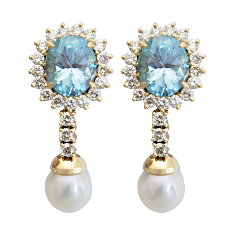 Earrings-Blue Topaz, Pearl and Diamond
