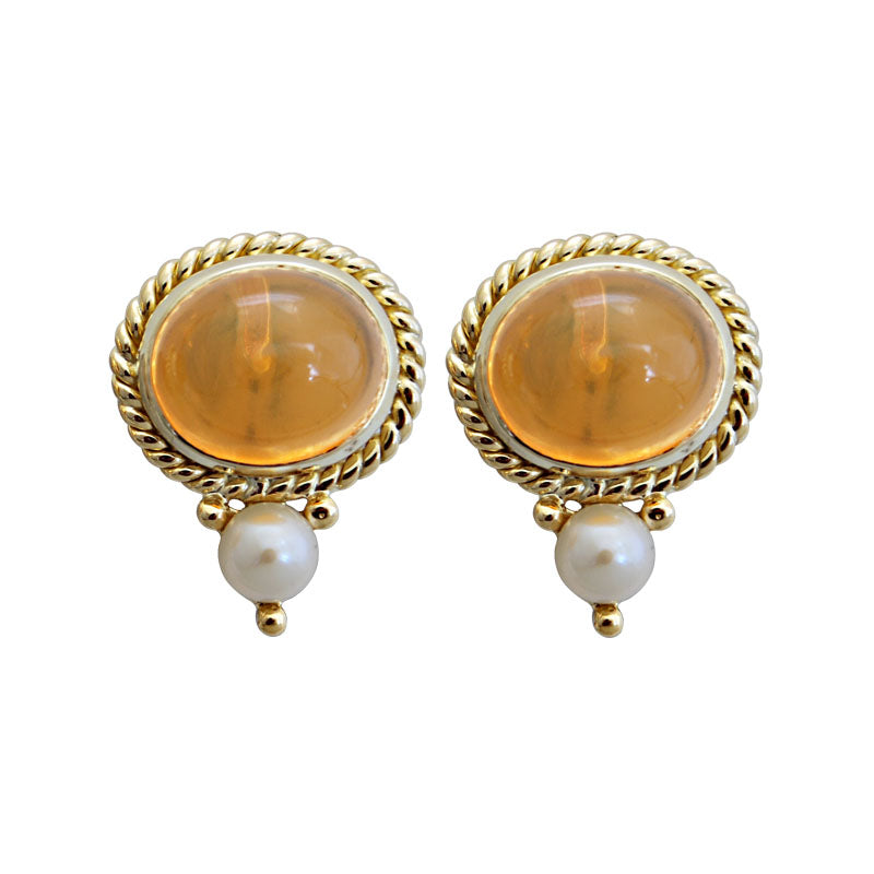 Earrings-Fire Opal and Pearl