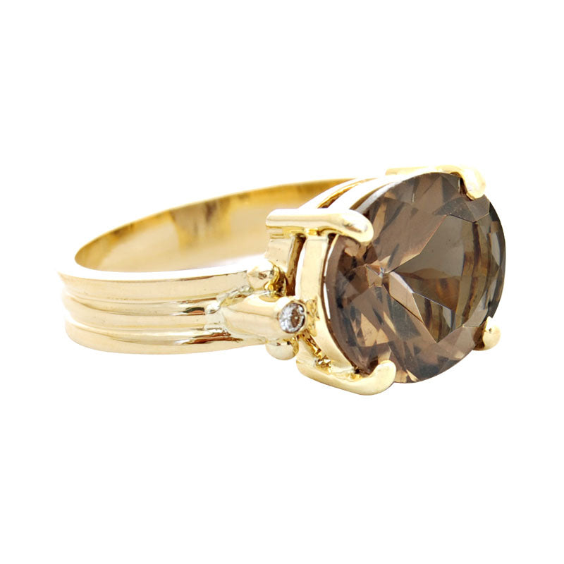 Ring-Smokey Quartz and Diamond