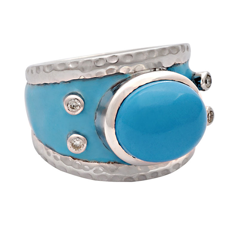Ring-Synthetic Turquoise and Diamond (Enamel)