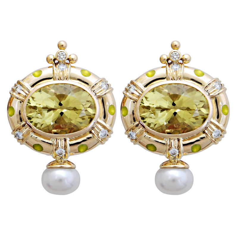 Earrings-Lemon Quartz, Pearl and Diamond(Enamel)