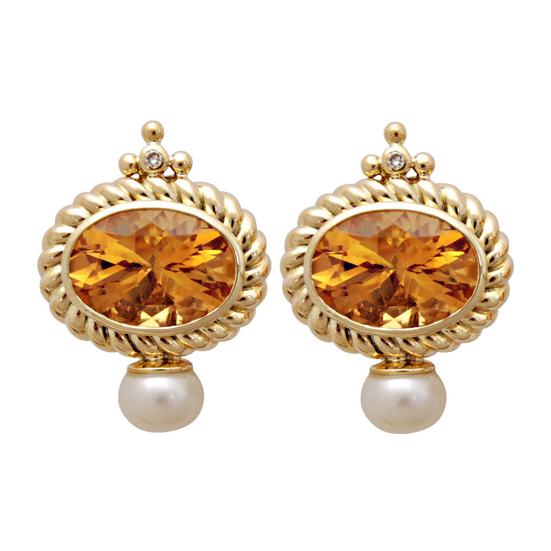 Earrings-Citrine, Pearl and Diamond