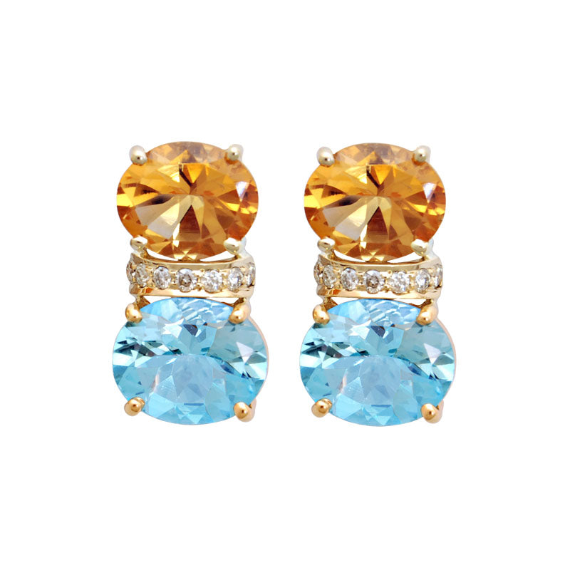 Earrings-Blue Topaz, Citrine and Diamond