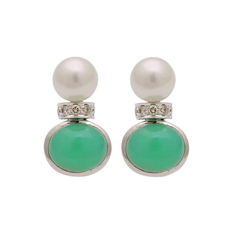 Earrings-Chrysoprase, South Sea Pearl and Diamond