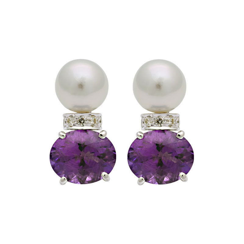 Earrings-Amethyst, South Sea Pearl and Diamond