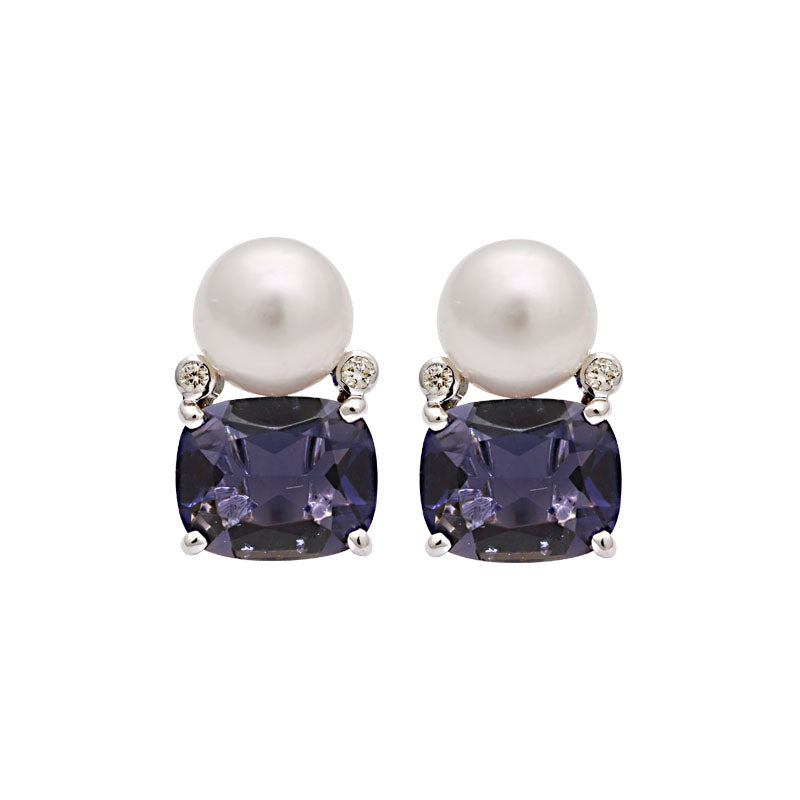 Earrings-Iolite, South Sea Pearl and Diamond